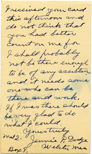 Postcard from Jenni P. Dodge to Donald W. Howe