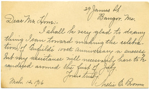 Postcard from Nellie E. Brown to Donald W. Howe