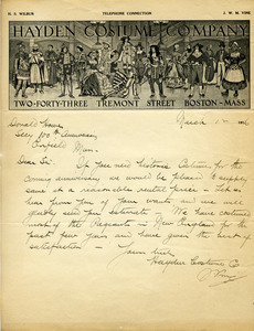 Letter from Hayden Costume Company to Donald W. Howe