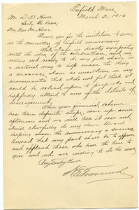 Letter from H. E. Townsend to Donald W. Howe