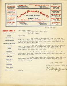 Letter from American Fireworks Sales Co. to Donald W. Howe