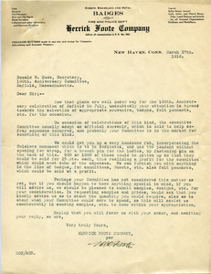 Letter from Herrick Foote Company to Donald W. Howe
