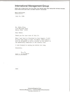Letter from Mark H. McCormack to Eddie Elias