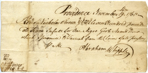 Receipt from Abraham Whipple to Nicholas Brown & Co. for purchase of 'one Negro girl named Deuse'