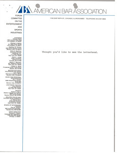 American Bar Association letterhead