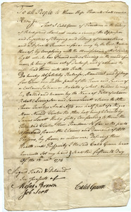 Manumission records: divestment of partial interest in two enslaved men, Peter and Venter