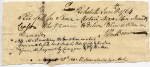 Receipt from Allin Brown to Moses Brown for 'a certain Negro man named Caesar who I promise to Deliver to him on order or Demand'