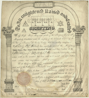 Royal Arch certificate issued to Nathaniel H. Olstead, 1827 February