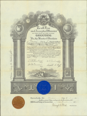 Master Mason certificate for Percy Henry Hartwright