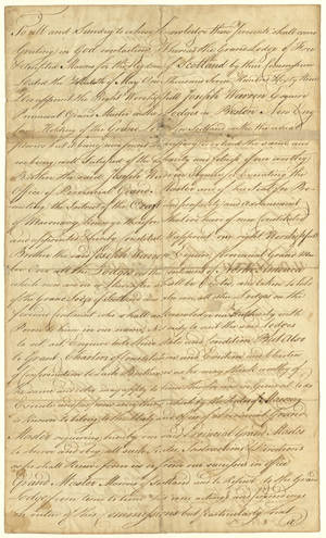 Attested copy of the appointment of Joseph Warren as Provincial Grand Master of Lodges in North America