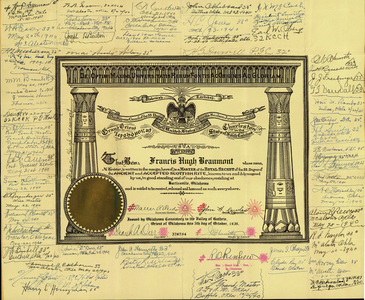 32° certificate issued to Francis Hugh Beaumont, 1939 October 5