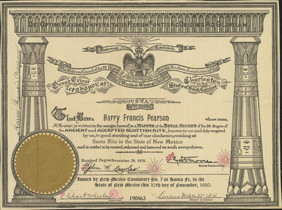 32° certificate issued to Harry Francis Pearson, 1920 November 20