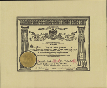 32° certificate issued to John St. Clair Pearson, 1946 November 27