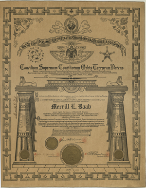 32° certificate issued to Merrill E. Raab, 1913 May 8