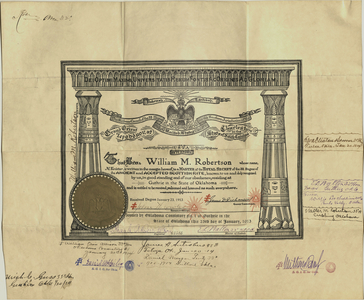 32° certificate issued to William M. Robertson, 1913 January 23