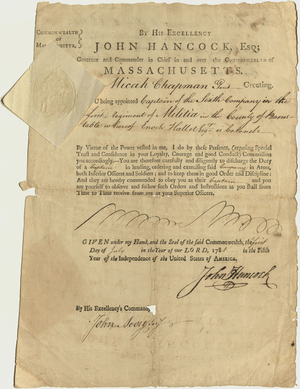 Appointment of Micah Chapman as Captain of the Sixth Company of Barnstable county, 1781 July 1