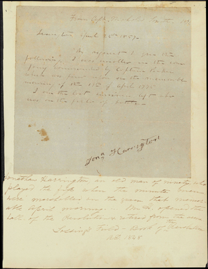 Autograph of Jonathan Harrington, the last-surviving participant in the Battle of Lexington, 1851 April 25