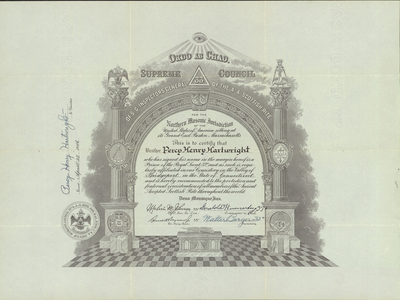 32° certificate issued to Percy Henry Hartwright