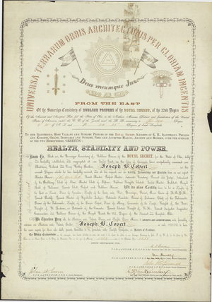 32° certificate issued to Joseph B. Covert