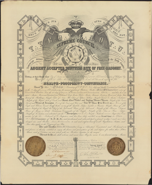32° certificate issued to John M. Chandler