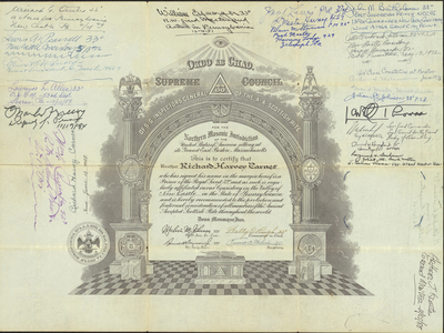 32° certificate issued to Richard Harvey Carnes, 1947 June 13
