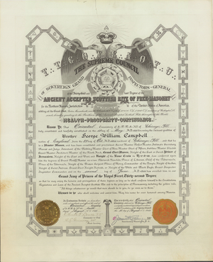 32° certificate issued to George William Campbell, 1911 June 2
