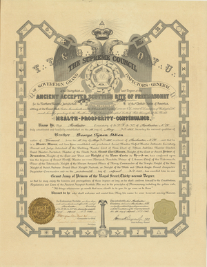 32° certificate issued to George Tynan Allen