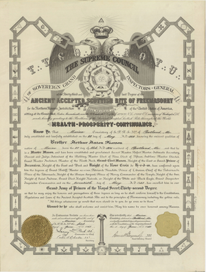 32° certificate issued to Arthur Anton Pearson