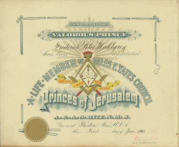 Masonic Membership Certificates