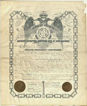 32° member certificate issued by the Supreme Council for the Northern Masonic Jurisdiction to August Silz, 1900 April 27