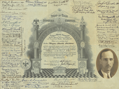 32° membership certificate issued by the Valley of Toledo to Wayne Edwin Stichter, 1930 May 22