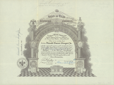 32° member certificate issued by the Valley of Trenton to Harold Burns Singer, Jr., 1965 November 20