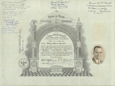 32° traveling certificate issued by the Valley of Canton to Virgil Albert Speidel, 1945 April 6