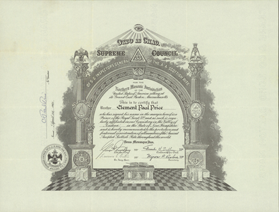 32° traveling certificate issued by the Valley of Nashua to Clement Paul Price, 1967 April 24