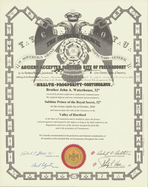32° certificate issued by the Valley of Hartford to John A. Waterhouse, 2000 October 28