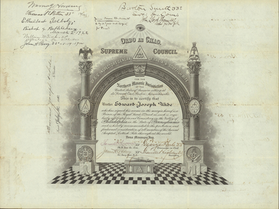32° traveling certificate issued by the Valley of Philadelphia to Edward-Joseph Uhde, 1910 July 10