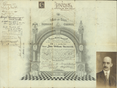 32° traveling certificate issued by Valley of Buffalo to John William Unsworth, 1918 October 1