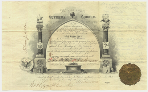 32° traveling certificate issued to Nelson J. Welton, 1882 April 28