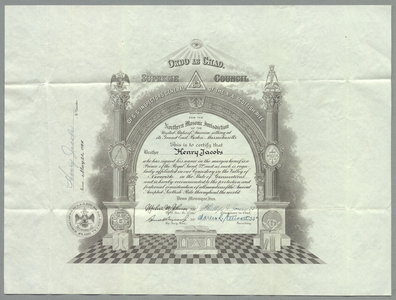 32° traveling certificate issued to Henry Jacobs, 1944 May 20