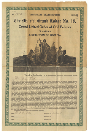 Death benefits certificate issued by District Grand Lodge, No. 18, to Cornelia Hill, 1913 June 1
