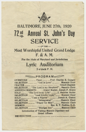 72nd annual St. John's Day service of the Most Worshipful Grand Lodge handbill, 1920 June 27