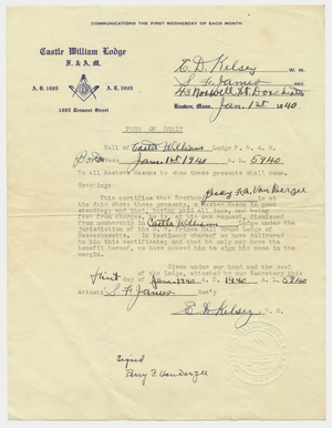 Demit issued to Perry Francis Adams Vanderzee, 1940 January 18