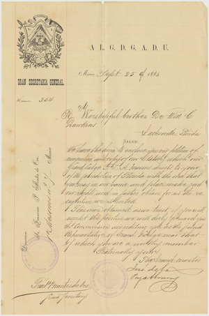 Appointment letter from the Gran Logia to DeWitt C. Dawkins, 1886 September 25