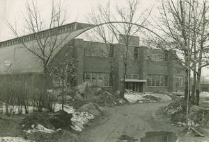 The almost completed front entrance of the Memorial Field House at Springfield College, 1947