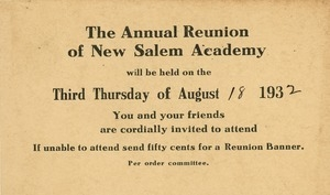 Invitation for Marshall Brown for the fifty-ninth annual New Salem Academy reunion