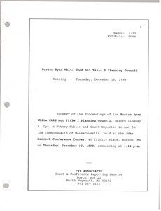 Excerpt of the proceedings of the Boston Ryan White CARE act title I planning council meeting