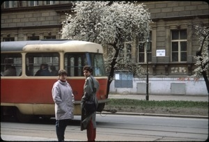 Tram and women on the street