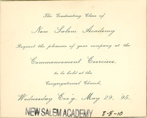 Invitation for Bessie Berry to the New Salem Academy commencement exercises
