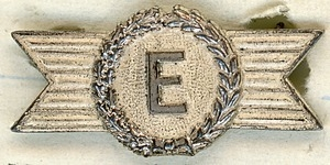 E award pin won by Roswell A. Calin for excellence in continuing the high standards in plant security in New England