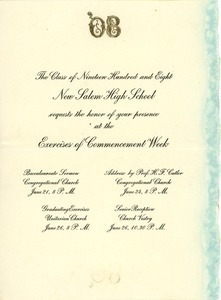 Invitation for Carolin A. Paige for the 1908 commencement week exercises at New Salem High School